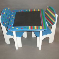 Stripes and Polka Dots Chalkboard Childrens Table and Chairs