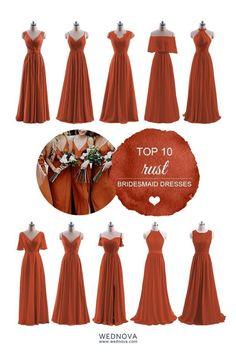 Burnt Orange Bridesmaid Dresses, Burnt Orange Weddings, Bridesmaid Dress Styles, Rustic Bridesmaid Dresses, Fall Wedding Bridesmaids, Burnt Orange Dress, Rust Orange, Wedding Gowns, Wedding Themes