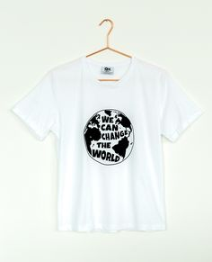 """T Shirt with """"We Can Change"""" print Pima Cotton Made in Colombia Preachers Wife, Change, Canning, How To Make, Cotton, T Shirt, Tops, Women, Products"""