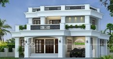 ₹40 Lakhs cost estimated 2530 square feet 3 bedroom decorative flat roof house plan by Divine Builders from Kannur, Kerala.