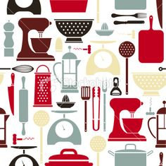Kitchen Utensil Pattern Royalty Free Stock Vector Art Illustration