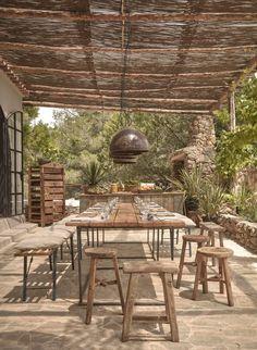 A woven cane pergola shades an outdoor dining patio. For more, see La Granja Ibiza: The Sexy New Farm Retreat. Photograph courtesy of Design Hotels. Outdoor Rooms, Outdoor Dining, Outdoor Tables, Outdoor Furniture Sets, Outdoor Decor, Dining Area, Patio Dining, Rustic Furniture, Dining Rooms