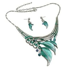 Silvertone Aqua Blue Leaf Statement Necklace and Earrings Set Fashion Jewelry PammyJ Necklace,http://www.amazon.com/dp/B0074NKSVM/ref=cm_sw_r_pi_dp_Ahh7sb1B6E1ARM74