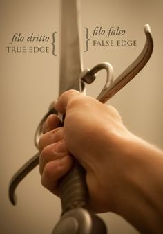 """When you hold a double-edged sword in your hand, the edge facing forwards, toward your opponent, is the filo dritto or the """"true edge"""". The edge facing toward you is the filo falso or the """"false edge"""". Both edges are sharp and capable of wounding."""
