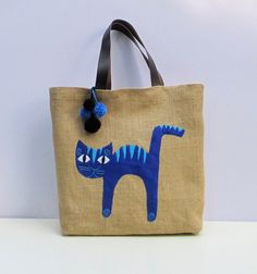 Stylish roomy handmade jute tote baguniquesporty chic by Apopsis