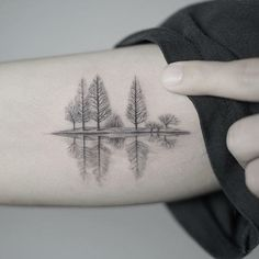Trees on the lake. (via IG - nandotattooer) #microtattoo #small #tiny #scenery #fineline#nando
