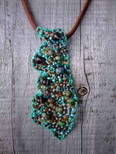 Freeform Beadwork Shard Pendant on by PhantasmCreates on Etsy