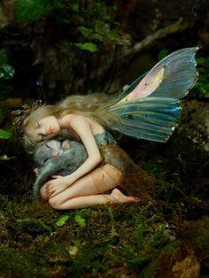 Fairy with mouse by Nenufar Blanco - Fantasy art dolls by Rosa Grueso