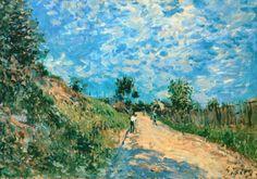 """artist-sisley: """"Hill Path by Alfred Sisley Size: 38x55 cm Medium: oil on canvas"""""""