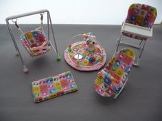1/12th scale 5 piece nursery set Hello Kitty by thimblemins
