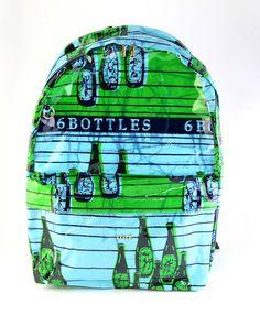 www.cewax.fr aime ce sac à dos en tissu wax africain bouteille de bierre style ethnique ethno afro tendance vety et turquoise