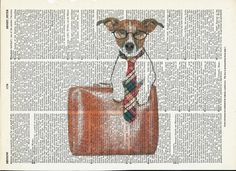Dictionary Art Print Cute Dog on  Vacation on Upcycle Vintage Page Book Print Art Print Dictionary Print Collage Print by SheriDictionaryPrint on Etsy