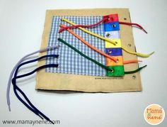 Quiet Book Page, ensarte de colores-mamaynene