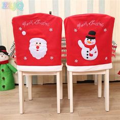 Christmas Decoration Red Chair Cover Embroidery Santa Claus Snowman Chair Back Cover New Year Xmas Home Dinner Party Decorations Chair Back Covers, Chair Backs, Dinner Party Decorations, Xmas Decorations, Christmas Snowman, Christmas Humor, Christmas Chair Covers, Xmas Dinner, Holiday Crafts