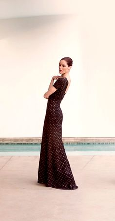 The St. John Knits black knit evening gown with sequin detailing and open V-back is the perfect dress for black tie affairs, charity balls, and as mother of the bride. | StJohnKnits.com