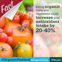 #Organic Myth: As long as you eat fruits and veggies it doesn't matter if they are organic.   The Truth: Eating organic fruits and vegetables could increase your antioxidant intake by 20-40%  Stop this myth by reposting this fact #OrganicFestival