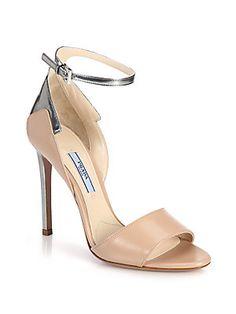 Prada Metallic-Trimmed Leather Sandals