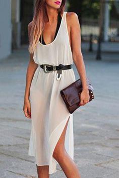 Sexy U Neck Sleeveless Backless See-Through High Slit White Dress For Women