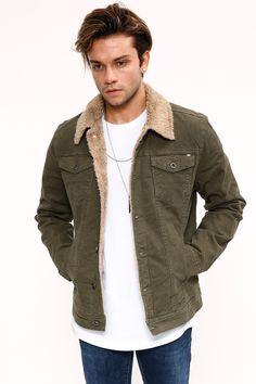 57af9c04453f3 Kadın ve Erkek Giyim Online Alışveriş Sitesi sa. Kürkü Taba Haki Erkek Kot  Ceket