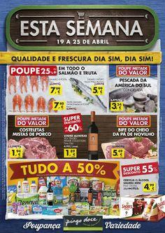 Esta semana nos supermercados Pingo Doce Super aproveite uma grande seleção de produtos tudo a 50%. Consulte o folheto promoções em vigor a partir 19 Abril.