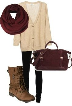 white cardigan; black jeans/ leggings; infinity scarf; brown boots