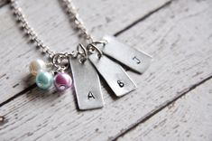Custom Initial Necklace  Birthstone Necklace for by SoSimplyQuaint
