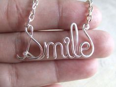 Smile Necklace Silver Word Necklace Personalized Name Necklace Wire Wrap Jewelry Gifts under 20 on Etsy, $17.95
