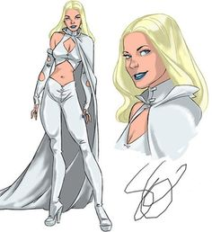If they would have made season 5 of the X-Men Evoultion series this is what Emma Frost would have looked like Ms Marvel, Captain Marvel, Marvel Comics, Wolverine, Cyclops, X-men Evolution, Emma Frost Costume, Superhero Suits, Celebrity Travel