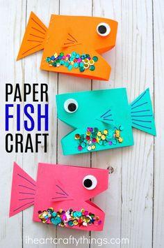 Cute paper fish craft for kids, ocean crafts for kids, summer kids craft, fish kids crafts, fun paper crafts and preschool craft.
