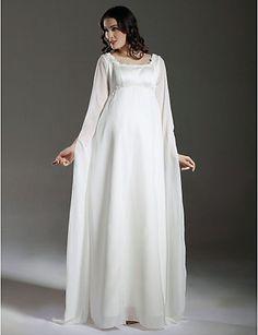 Sheath/ Column Empire Square Floor-length Satin Chiffon Maternity Wedding Dress with Split Front