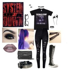 """System of a down"" by walkingdeadgirl01 on Polyvore featuring Too Faced Cosmetics, Converse, Lime Crime, Fallon, Zadig & Voltaire and JBL"