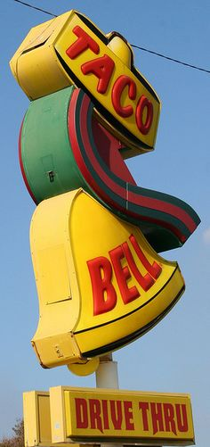 "old taco bell sign, loved to go inside and eat as a kid.  It smelled sooooo good!  Does anyone remember the ""bellbeefer?"""