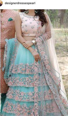 Sky blue Floral designs Lehenga choli set - Source by patelswati - Indian Gowns Dresses, Indian Fashion Dresses, Indian Designer Outfits, Pakistani Dresses, Blue Dresses, Indian Wedding Outfits, Bridal Outfits, Indian Outfits, Bridal Dresses