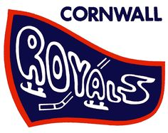 Cornwall Royals Primary Logo (1982) - A blue pennant with Royals, a stick and skate in white