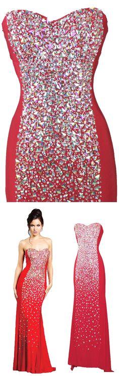 Sexy Sheath Sweetheart Strapless Chiffon Long Prom Dress With Rhinestones #prom #evening #party #dress