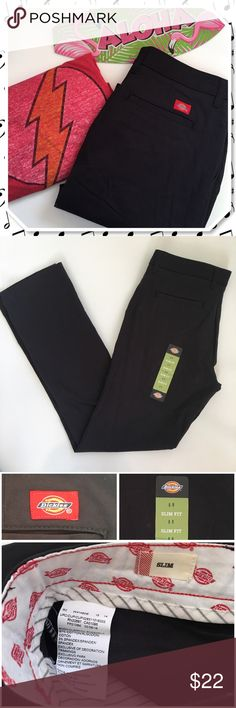 Dickies Women's Slim Straight Leg Twill Pant Let your inner punk rocker out.. or your business woman. These Dickies slim straight leg twill work pant are very a very versatile wardrobe staple. Slim fitting through the seat and thigh, straight leg with spandex stretch (3%) for greater mobility. Contoured waistband with stretch innerlining prevents gapping in the back and hook and eye closure provides a smooth clean front.  ⚡waist 15.5''(flat) 31'' inseam 9'' rise ❌ trades ❌ lowballs 👍offer…