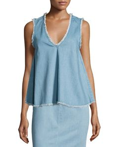 TBL5D Nicholas Sleeveless Raw-Edge Denim Top, Blue