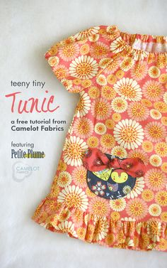 Free Projects | Teeny Tiny Tunic & Bloomers Play Set by Tie Dye Diva Patterns for Camelot Fabrics | Petite Plume by Andrea Turk of Cinnamon Joe Studio