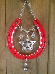 LUCKY HORSESHOE Christmas gift red wall decor good by LuckAdorned, $80.00