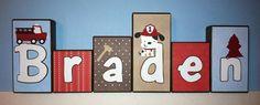 Personalized Wood Blocks - M2M NoJo's Engine 27 - Fireman - Firefighter - Firetruck - Custom Name Block Letters - Baby Letter Blocks