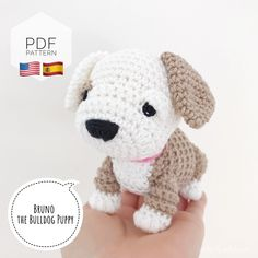 "Excited to share this item from my #etsy shop: AMIGURUMI PATTERN/ tutorial (English/Español) Amigurumi Bulldog - ""Bruno the Bulldog Puppy"" pdf - US terminology Crochet Dog Patterns, Crochet Fox, Crochet Hooks, Animal Patterns, Amigurumi Patterns, Crochet Ideas, Half Double Crochet, Single Crochet, Bulldogs"