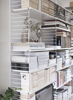 Home Interior, Interior Styling, Interior Decorating, Home Library Design, House Design, String Regal, String Shelf, Library Bookshelves, Home Office Decor