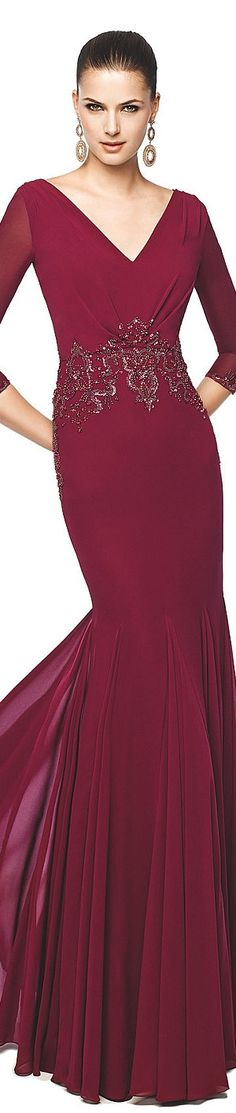 #dresses #mothers #gowns | Burgundy Red Long Sleeve Evening Gown with a slightly lower Empire Waist | Darius Cordell Fashion Ltd can make similar long sleeve mother-of-the-bride dresses for you. Custom designs available. We can work from any photo to help you create the perfect one of a kind dress suited to your personality and taste.