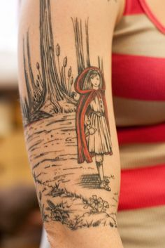 fantastic little red riding hood tattoo. #red #tattoo