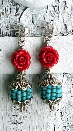Turquoise Beaded Earrings Red Rose EaRrInGs by SecretStashBoutique