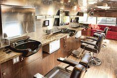 Sterlings Mobile Barber's custom Airstream interiors.