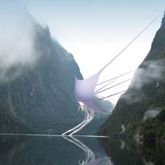 """A power-generating """"wind dam"""" that uses a giant spinnaker sail slung between mountains to funnel wind into a turbine."""