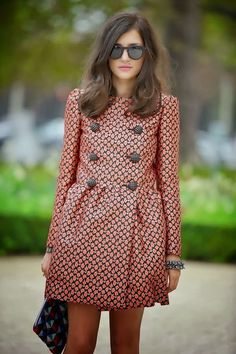 This well-tailored coat shows that a chic print in a standout color makes everything else work.
