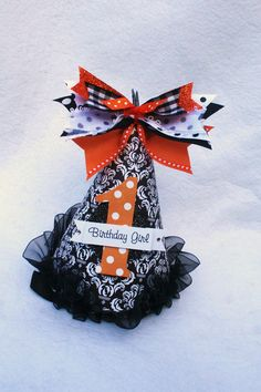 Items similar to Halloween birthday party hat in black white damask with orange and white polka dot accents on Etsy Birthday Party Hats, Halloween Birthday, Baby Birthday, Halloween Themes, Birthday Ideas, October Birthday, Hallows Eve, Party Planning, Christmas Holidays