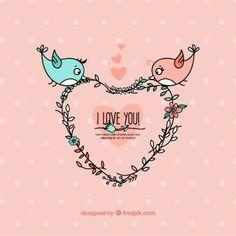 Convite Casal de passarinhos em vetor   moldes   Pinterest ...